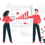 ilustração de homen e mulher apresentando gráfico de marketing para pequenas empresas