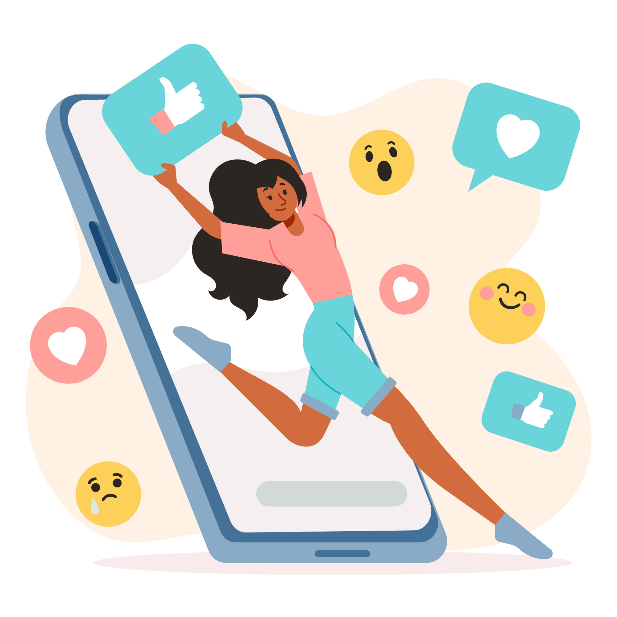 ilustração de mulher negra segurando um ícone de like do facebook