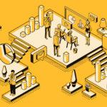 ilustração de pessoas trabalhando em escritório