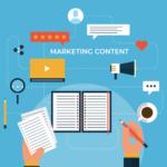 Ilustração com elementos para construir um marketing content.