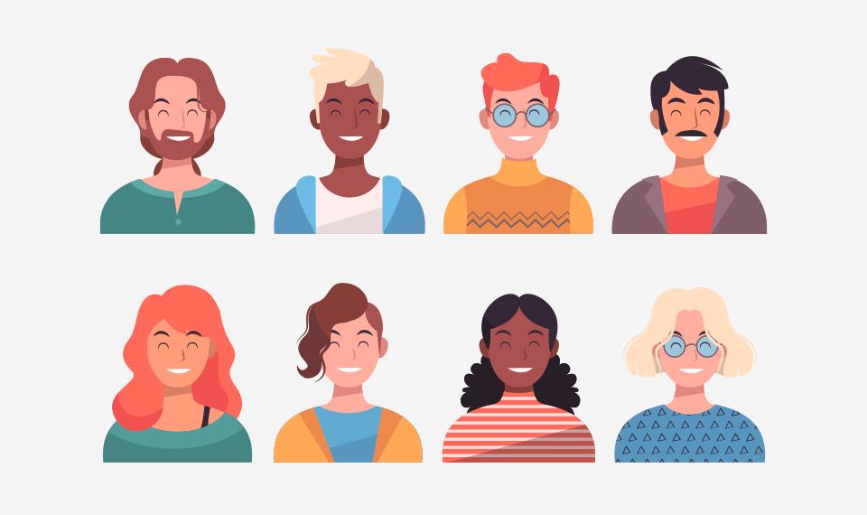Ilustrações de de um grupo de pessoas diversas uma ao lado da outra.
